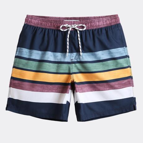 "Henry 7"" Swim Trunks // Fresh Striped // Navy + Multicolor (XS)"