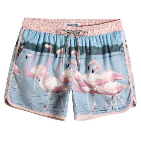 "Sean 4.5"" Swim Trunks // Vintage Flamingo // Pink + Blue (XS)"