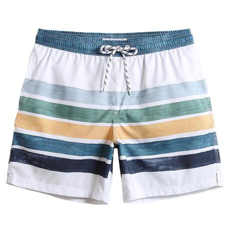 """Henry 7"""" Swim Trunks // Fresh Striped // White + Multicolor (XS)"""