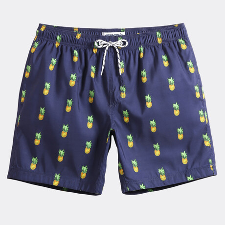 "Michael 7"" Swim Trunks // Pineapple Print // Navy (XS)"