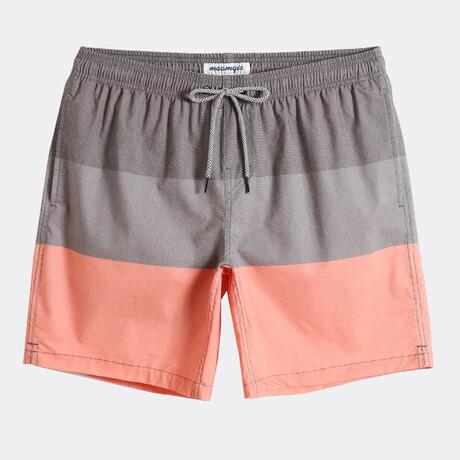 """Brian 7"""" Swim Trunks // 4 Way Stretch // Gray + Coral (XS)"""