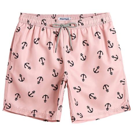"Michael 7"" Swim Trunks // Anchor Print // Light Pink (XS)"
