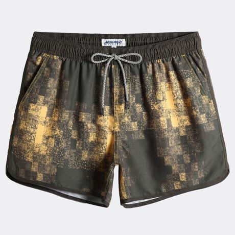 """Sean 4.5"""" Swim Trunks // Vintage Maze // Yellow + Brown (XS)"""