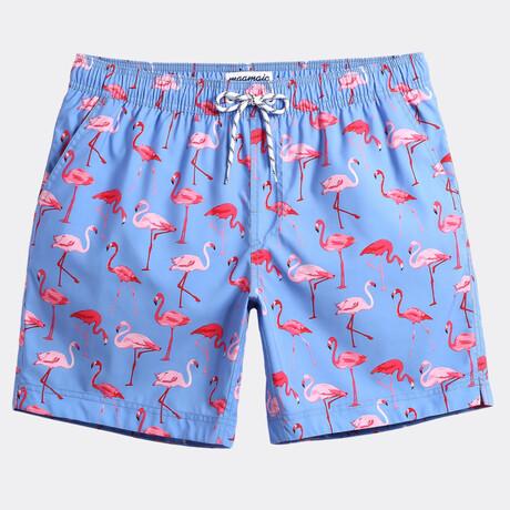 "Michael7"" Swim Trunks // Small Flamingo Print // Blue (XS)"