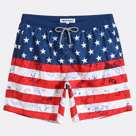 """Tom 7"""" Swim Trunks // American Flag // Red + White + Blue (XS)"""