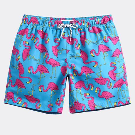 "Michael 7"" Swim Trunks // Flamingo Print // Blue + Pink (XS)"