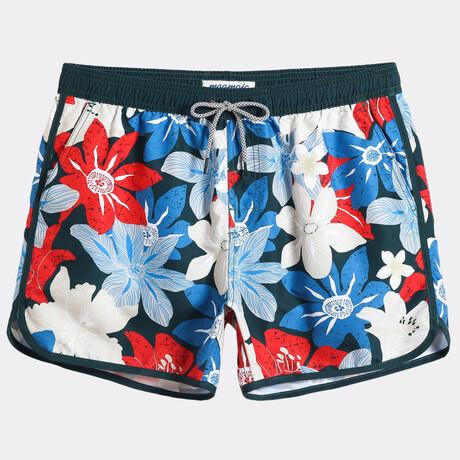 "Sean 4.5"" Swim Trunks // Vintage Flower // Blue + Red (XS)"