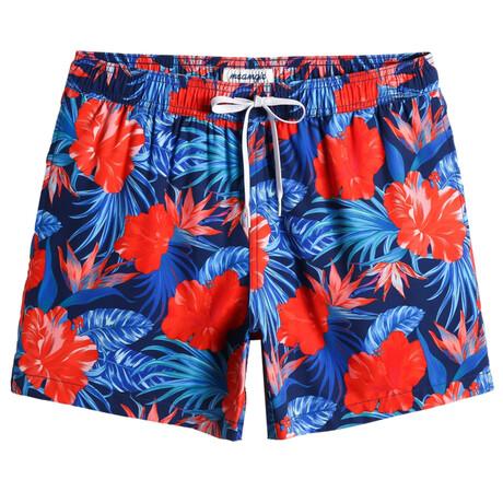 "Aaron 5.5"" Swim Trunks // 4-Way Stretch // Vintage Flower // Blue + Red (XS)"