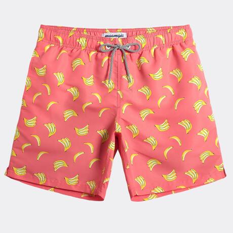 "Michael 7"" Swim Trunks // Banana // Coral + Yellow (XS)"