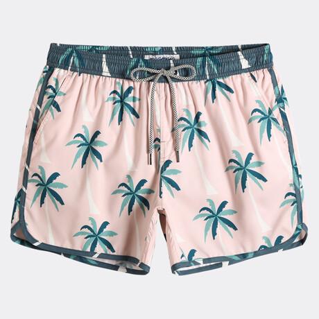 "Sean 4.5"" Swim Trunks // Vintage Palm Trees // Pink (XS)"