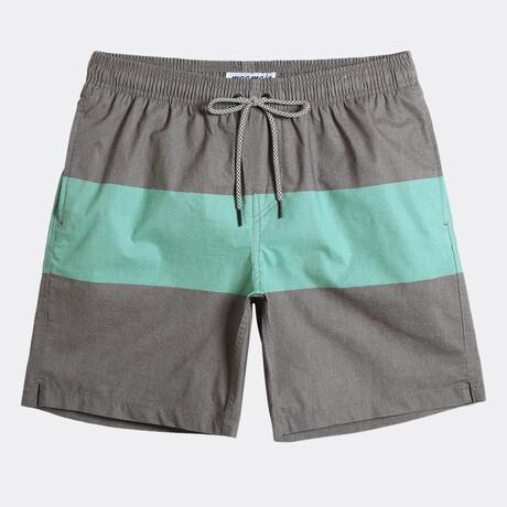 """Brian 7"""" Swim Trunks // 4 Way Stretch // Gray + Green (XS)"""