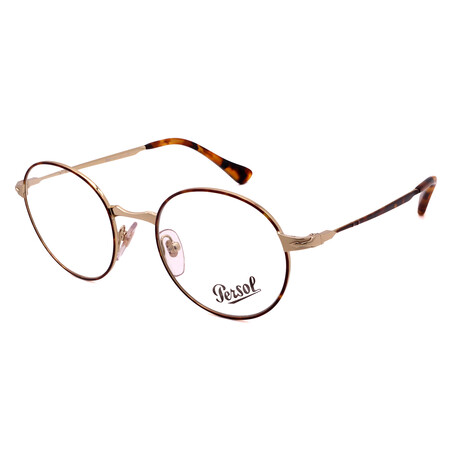 Persol // Unisex PO2451V-1075 Round Optical Frames // Gold + Light Havana