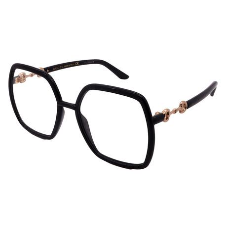 Gucci // Men's GG0890O-001 Sqaure Optical Frames // Black + Black
