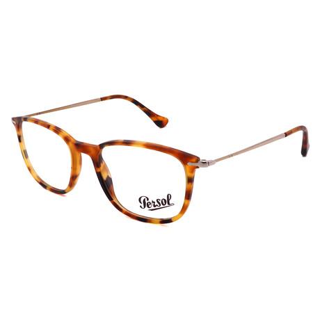 Persol // Unisex PO3146V-1052 Rectangular Optical Frames // Gold + Light Havana
