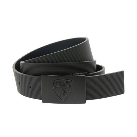 Angelo Stripe Textured Belt // Black (XS)