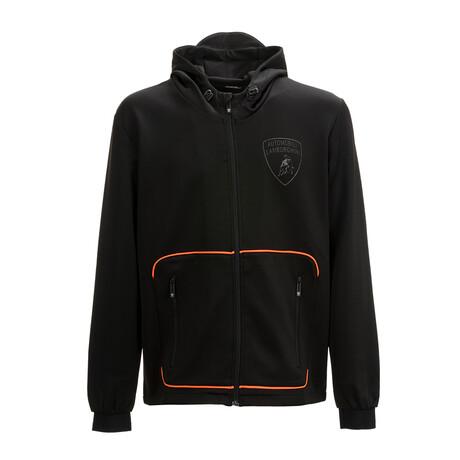 Alessio Zip-Up Hoodie // Black + Orange (XS)