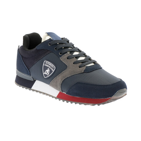 Cristian Lace-Up Tennis Shoes // Navy + Gray + Red (Euro: 40)