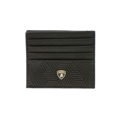 Logo Textured Slim Cardholder Wallet
