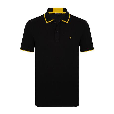 Palermo Short Sleeve Polo Shirt // Black + Yellow (S)