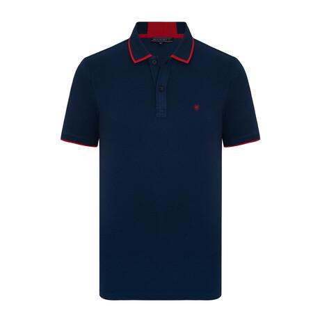 Tenerife Short Sleeve Polo Shirt // Navy + Red (S)