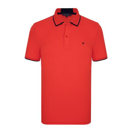 Odessa Short Sleeve Polo Shirt // Red + Navy (S)