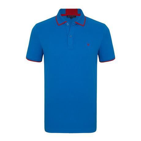 Rotterdam Short Sleeve Polo Shirt // Sax + Red (S)