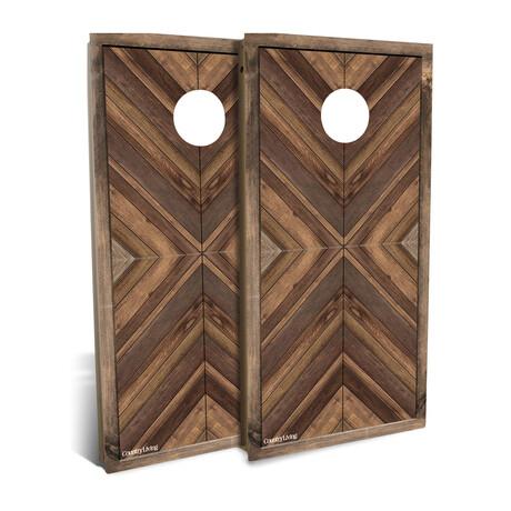 Country Living Natural Multi-wood Chevron // Cornhole Board Set