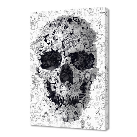 "Doodle Skull // B&W (12""H x 8""W x 0.75""D)"