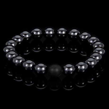 Polished Onyx + Matte Onyx Beaded Stretch Bracelet // 10mm