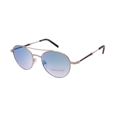 Unisex SF224SG-062 Round Tempered Glass Sunglasses // Shiny Palladium