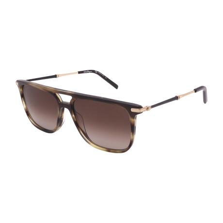 Unisex SF966S-319 Square Sunglasses // Striped Khaki
