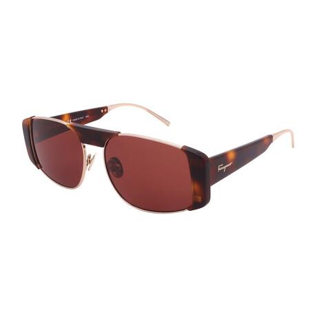 Women's SF267S-723 Rectangular Sunglasses // Gold + Tortoise