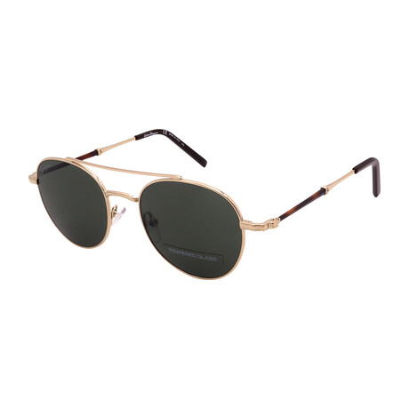 Unisex SF224SG-704 Round Tempered Glass Sunglasses // Shiny Gold + Brown