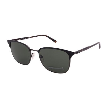 Unisex SF180SG-021 Square Tempered Glass Sunglasses // Black + Dark Ruthenium