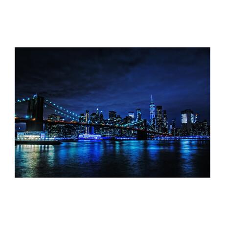 BROOKLYN BRIDGE AT NIGHT BLUE TINT (Black Frame)