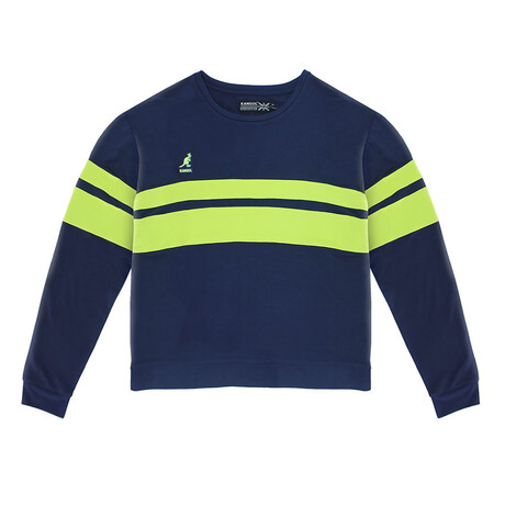Women's Striped Popover // Maritime Blue + Lime (XS)