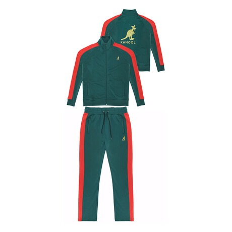 French Terry Track Suit // Emerald + Red (S)