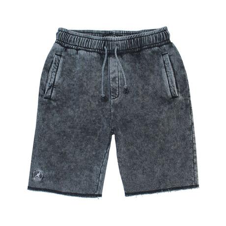Acid Wash Embroidered Fleece Short // Black Wash (S)