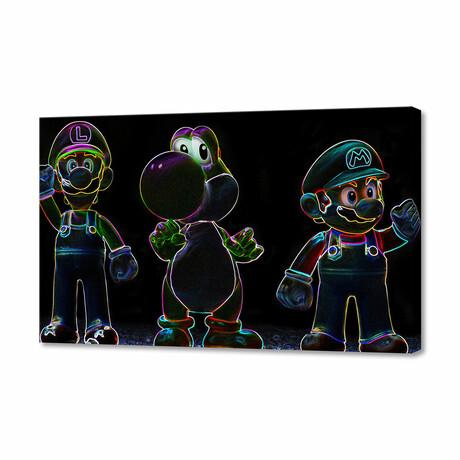"Luigi + Yoshi + Mario (8""H x 12""W x 0.75""D)"