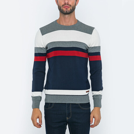 Francis Striped Pullover // Gray + Navy + Red (S)