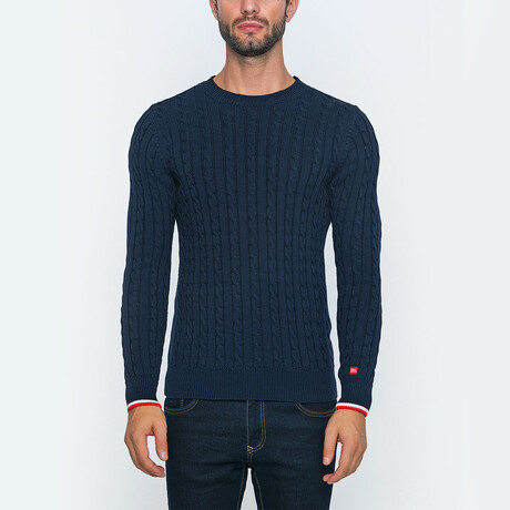 Clay Knit Pullover Sweater // Navy (S)