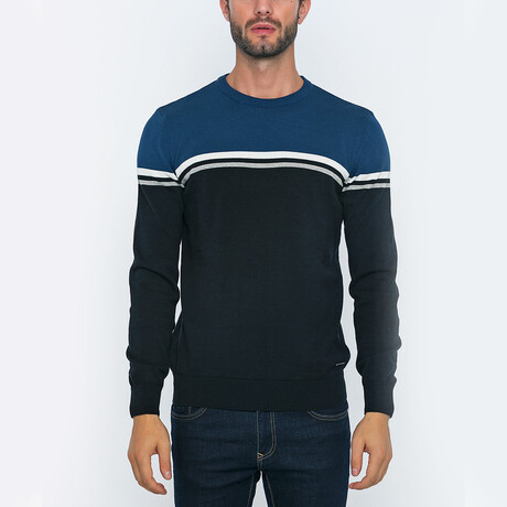 Fisher Pullover // Black + Blue (S)