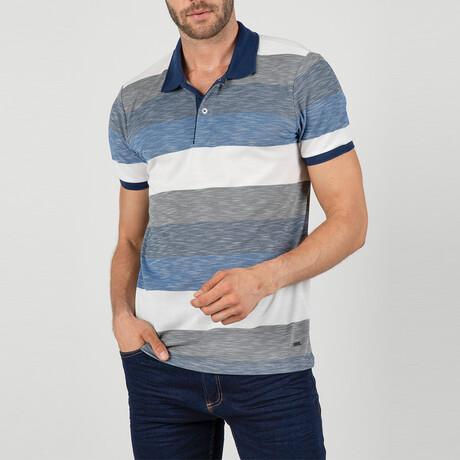 Buenos Aires Short Sleeve Polo Shirt // White, Sax (S)