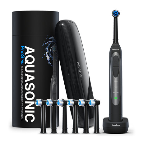 AquaSonic ProSpin // Electric Toothbrush + 6 Replacement Heads + Travel Case