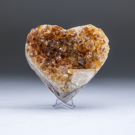 Genuine Citrine Crystal Cluster + Calcite Heart + Acrylic Display Stand