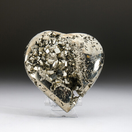Genuine Pyrite Crystal Clustered Heart + Acrylic Display Stand v.1