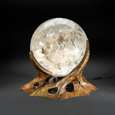Huge Museum Quality Optical Quartz Sphere + Illuminated Bronze Base