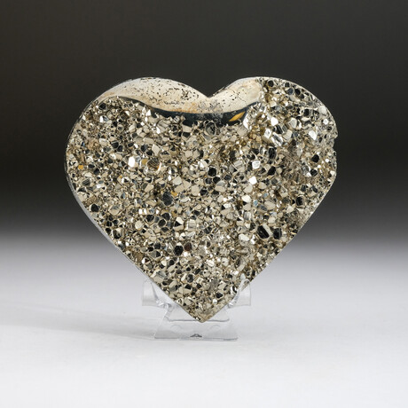 Genuine Pyrite Crystal Clustered Heart + Acrylic Display Stand v.2