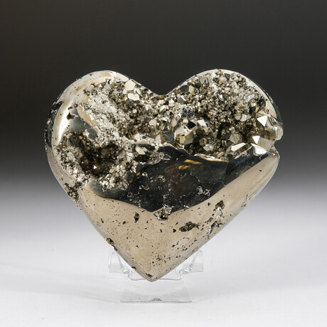 Genuine Pyrite Crystal Clustered Heart + Acrylic Display Stand v.4