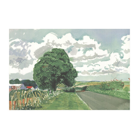David Hockney // Road and Tree Near Wetwang // 2020 Offset Lithograph